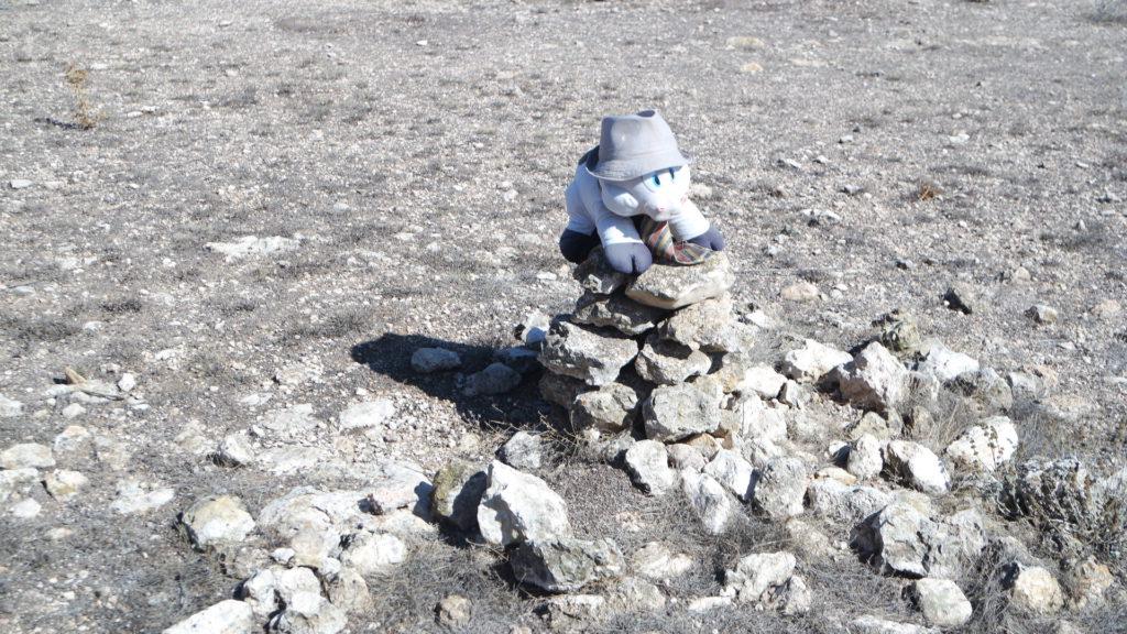 Steinbau mit albernem Glücksschwein